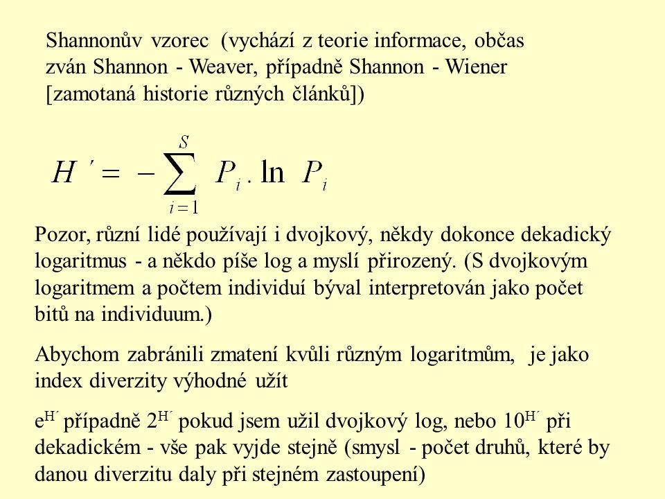Shannonův vzorec (vychází z teorie informace, občas zván Shannon - Weaver, případně Shannon - Wiener [zamotaná historie různých článků])